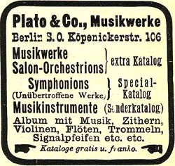 Plato & Co., Musikwerke 15-8-11-1