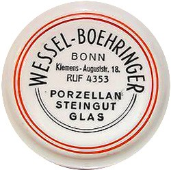 Porzellan und Steingutfabrik Ludwig Wessel 20-9-7-3
